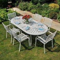 Table CATHERINE - Blanc (ensemble 6 personnes)