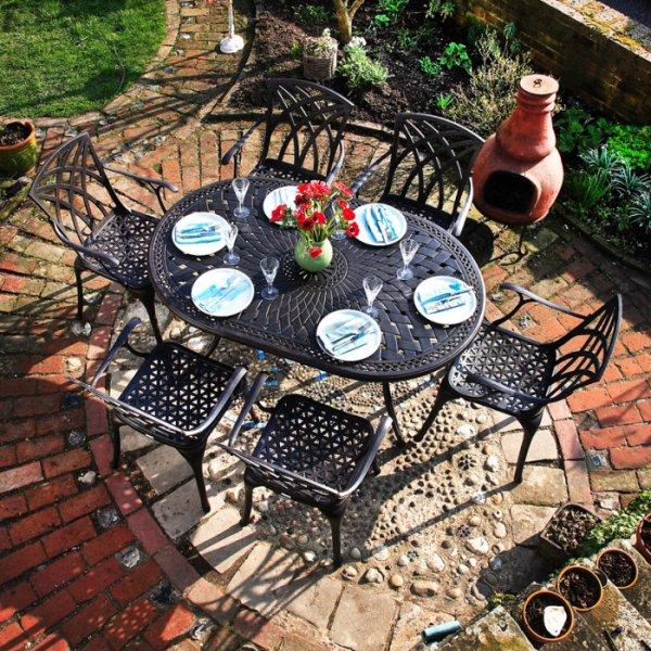 Table JUNE - Bronze Ancien (ensemble 6 personnes)