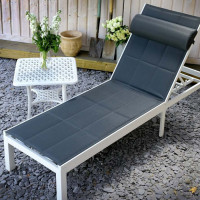 Chaise longue MICHELLE - Blanc & Gris