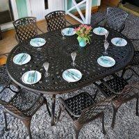 Table ROSEMARY - Bronze Ancien (ensemble 8 personnes)