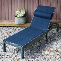 Chaise longue MICHELLE - Gris & Bleu
