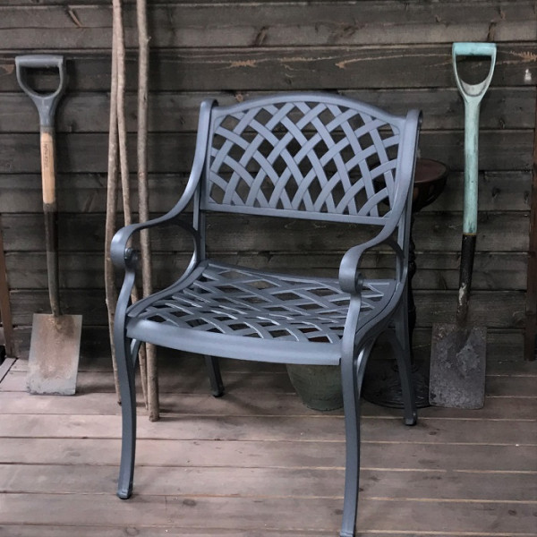 Slate Grey self assembly aluminium garden chair