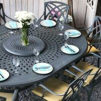 GLORIA table 210 x 150 cm et 10 chaises - coloris ardoise