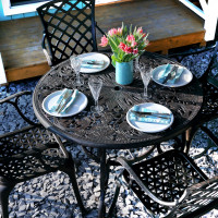Table FLORA - Bronze Ancien (ensemble 4 personnes)