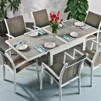 Ruby Table - White & Champagne (6 seater set)