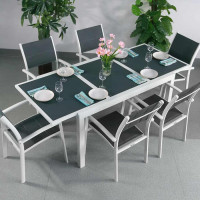 Table DAISY - Blanc & Gris (ensemble 6 personnes)