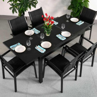 Table DAISY - Noir (ensemble 6 personnes)