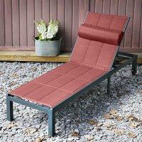 Chaise longue MICHELLE - Gris & Terre Cuite