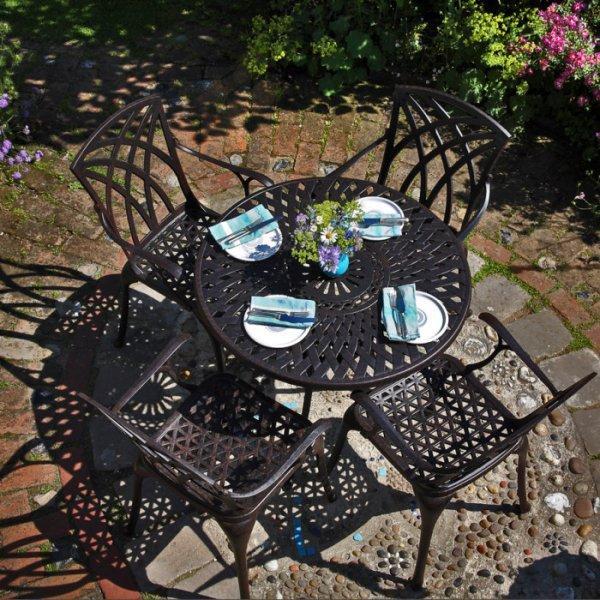 Table MIA - Bronze Ancien (ensemble 4 personnes)