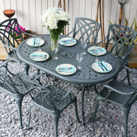 Table JUNE - Gris Ardoise (ensemble 6 personnes)