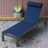 Chaise longue MICHELLE - Bronze Ancien & Bleu