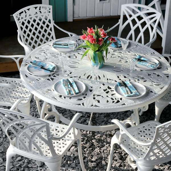 White 135cm Metal Garden 6 seater furniture 2