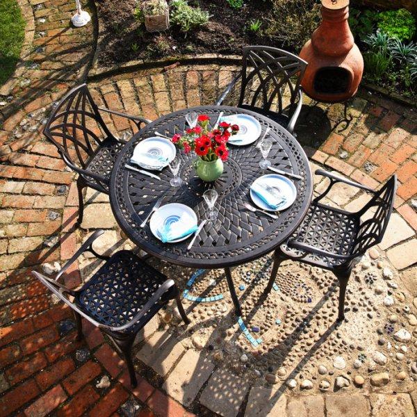 Table ALICE - Bronze Ancien (ensemble 4 personnes)