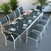 Table VIOLET - Blanc & Gris (ensemble 10 personnes)