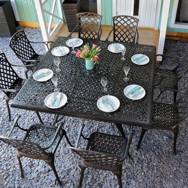 Tanya 8 seater 162cm Square garden table set 3