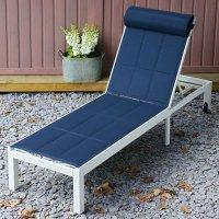 Chaise longue MICHELLE - Blanc & Bleu