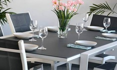 Table Janine 6 places blanc et gris