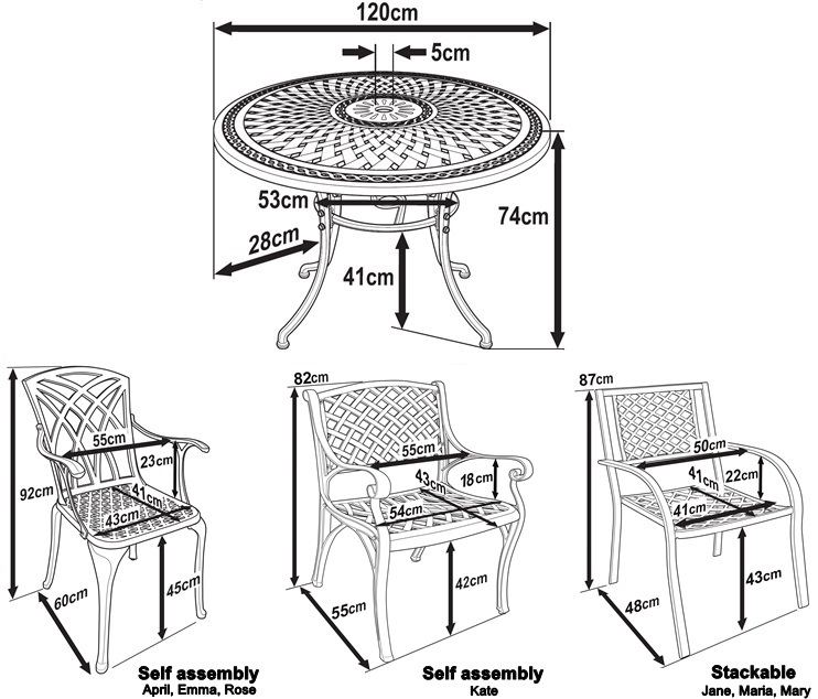 Outdoor metal chair dimensions